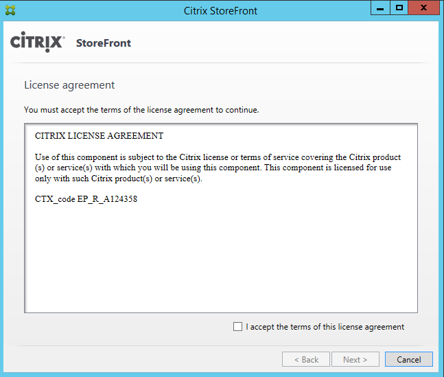 StoreFront license agreement