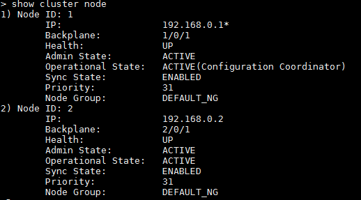 Cluster configuration with nodes enabled
