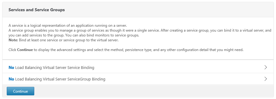 Select No Load Balancing Virtual Server ServiceGroup Binding