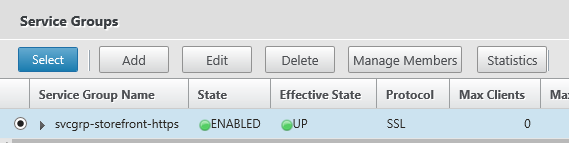 Select the previously created serviceGroup
