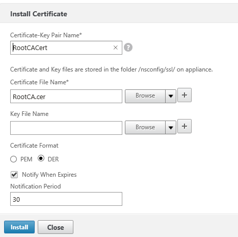 Install Root CA certificate