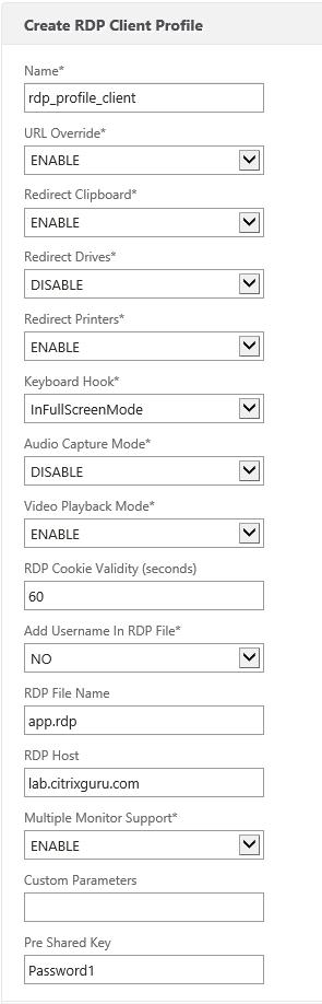 RDP Client profile
