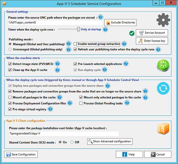 App-V Scheduler service configuration