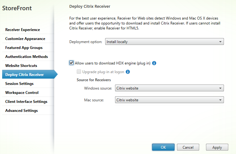 Citrix receiver client detection