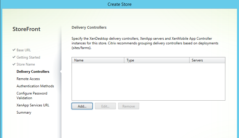 Delivery controllers configuration