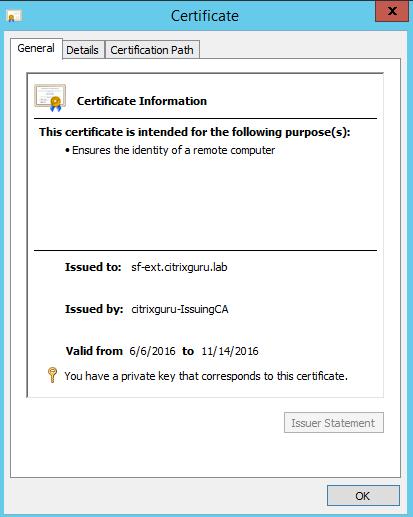 SSL Certificate StoreFront
