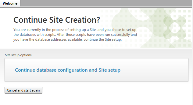 Continue Database configuration and Site setup
