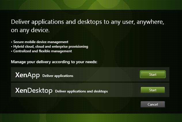 Start XenDesktop install