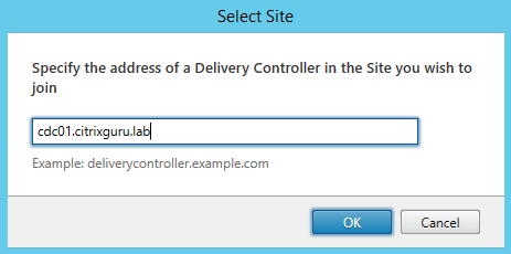 Type the FQDN of a controller member of the XenDesktop site
