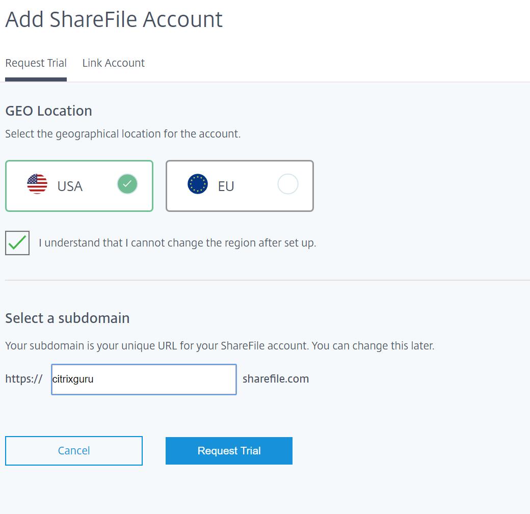 ShareFile GEO location - USA or EU