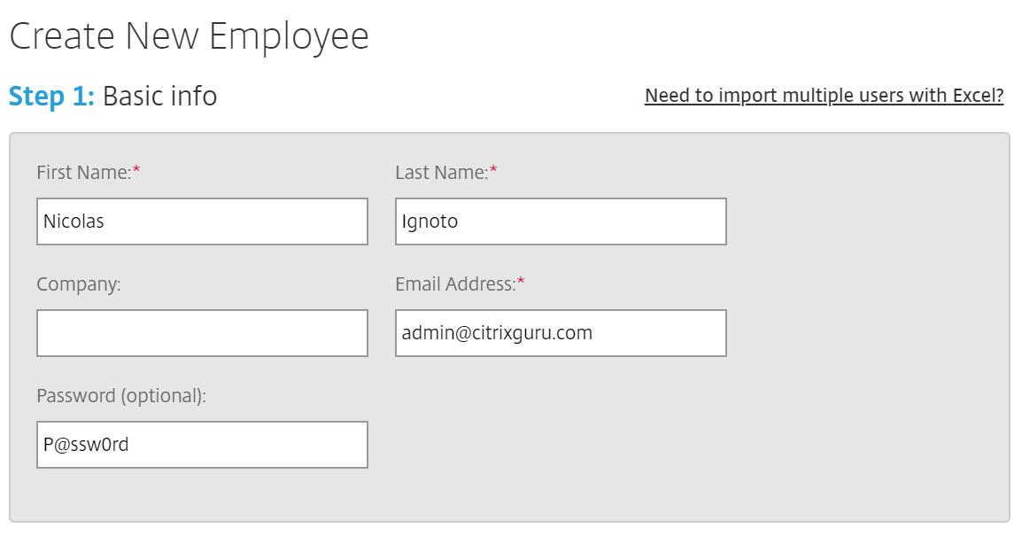 ShareFile - create a new user - basic info