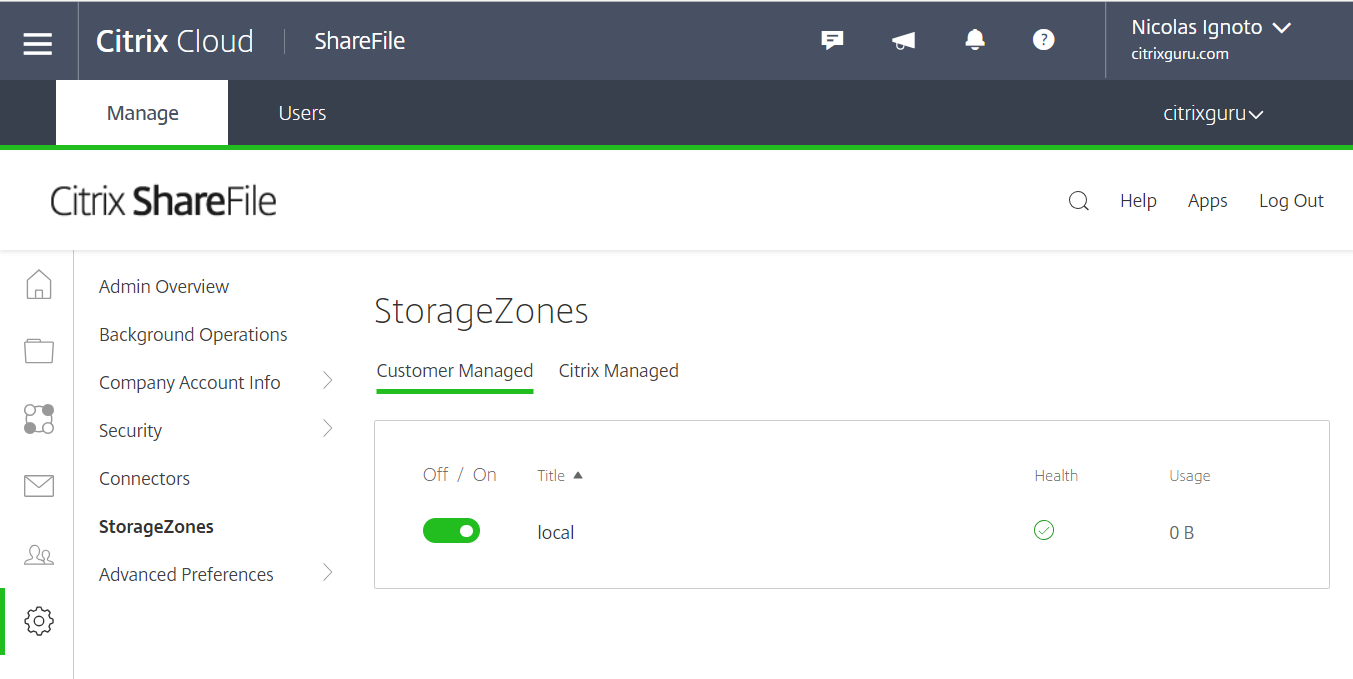 Citrix ShareFile StorageZones Controller - Zone available in Citrix Cloud