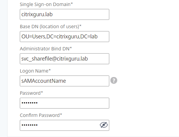 NetScaler for ShareFile - Configure LDAP 2