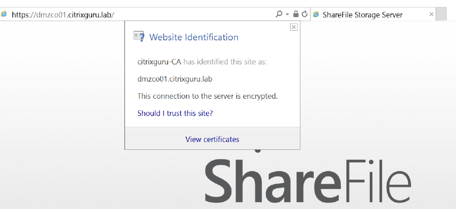 Citrix ShareFile StorageZones Controller - Secured with SSL