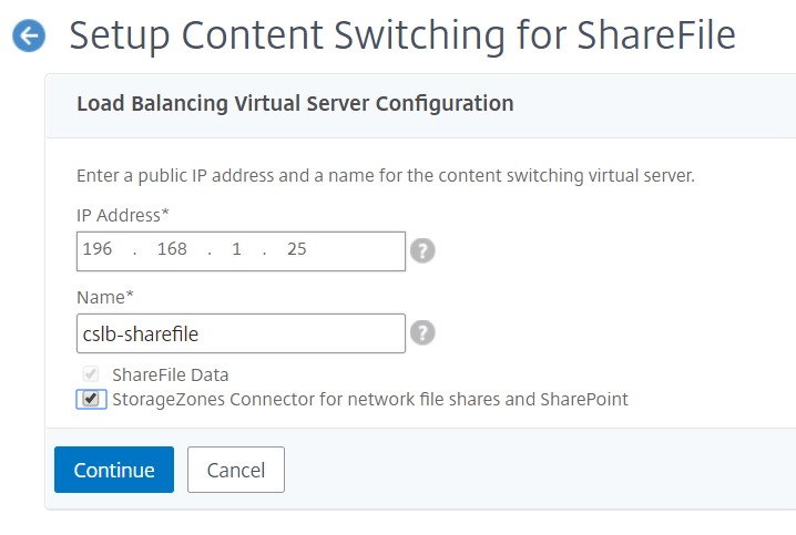 NetScaler for ShareFile - Setup Content Switching Virtual Server