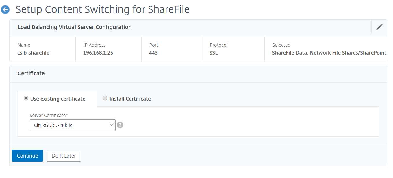 NetScaler for ShareFile - Setup external TLS certificate