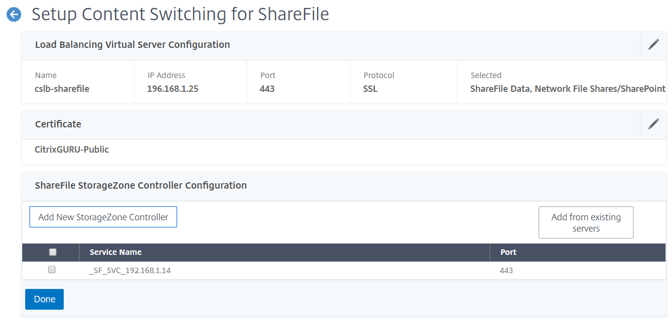 NetScaler for ShareFile - Configure StorageZone Controller 2