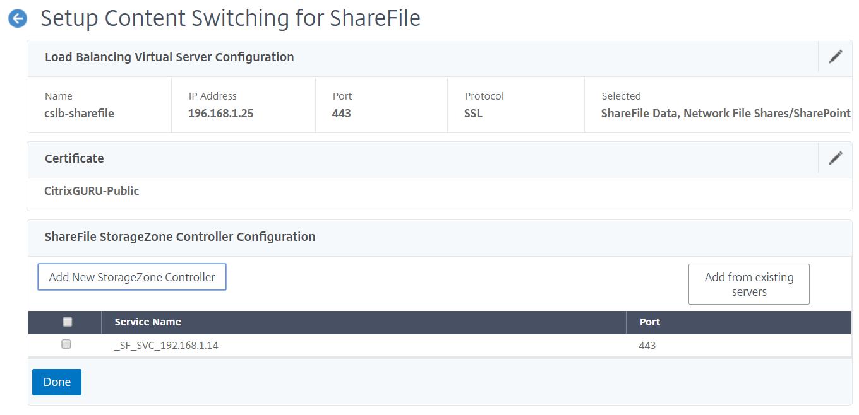 NetScaler for ShareFile - Configure StorageZone Controller 2