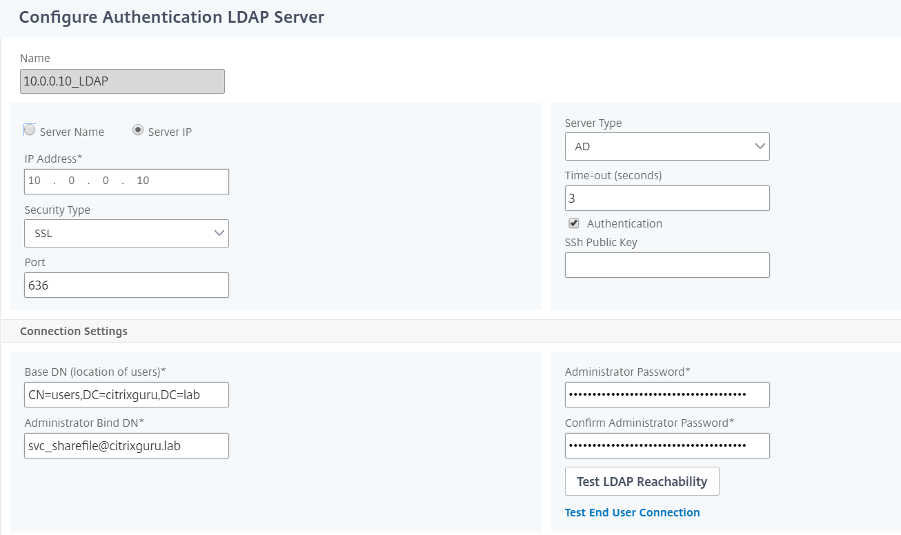 NetScaler for ShareFile - Switch to LDAPS 6