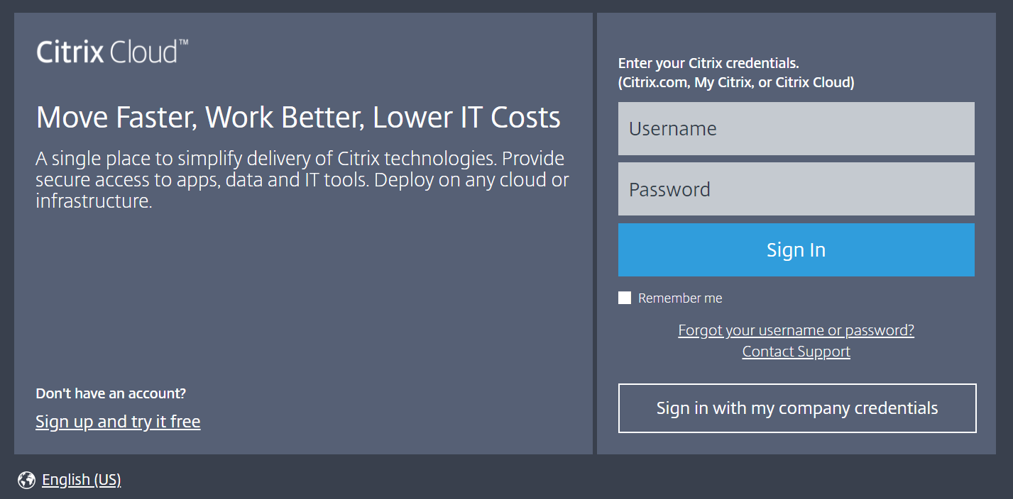 Sign up to Citrix Cloud