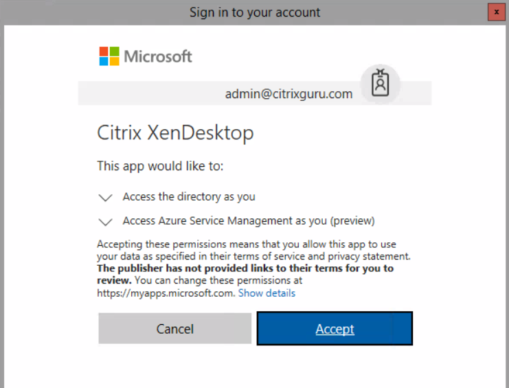 Allow Citrix XenDesktop to access Azure