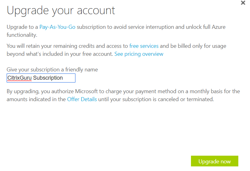 Azure - Give your subscription a friendly name