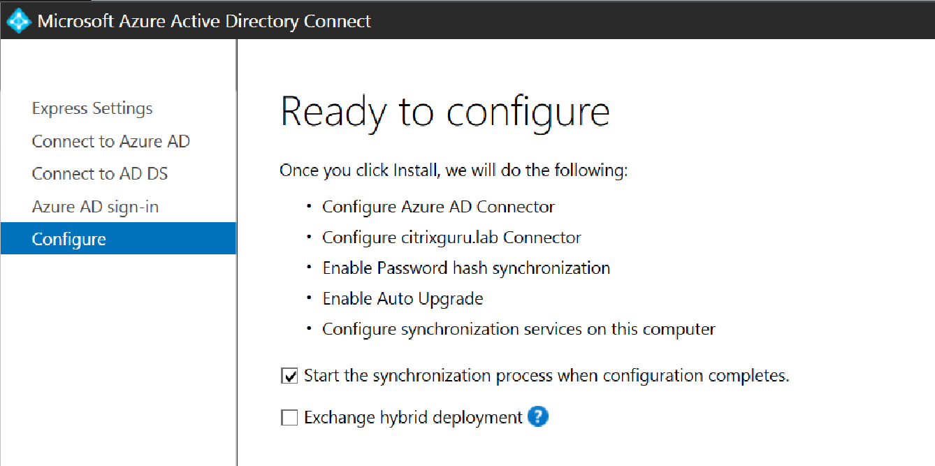 Ready to configure Azure AD Connect