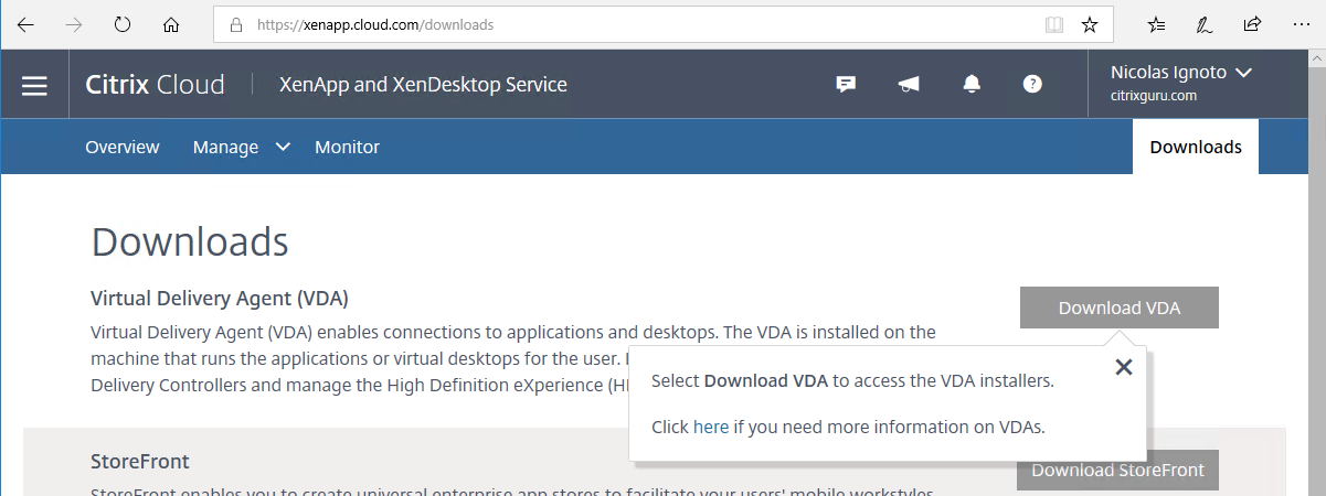 Download Virtual Delivery agent (VDA)