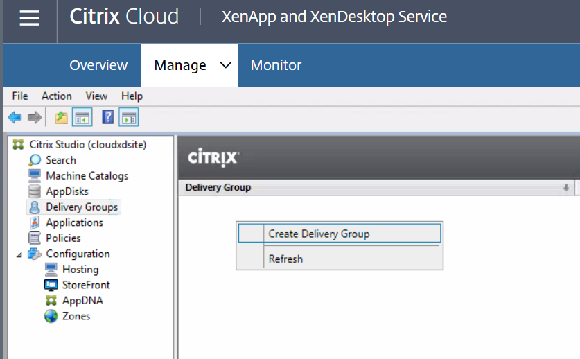 XenApp and XenDesktop Service - Create Delivery Group 1