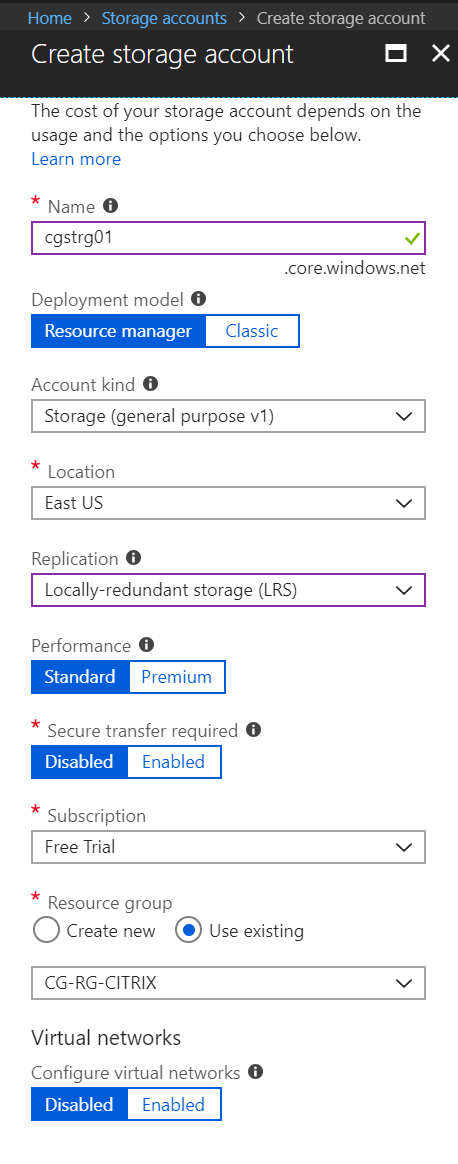 Azure Storage account configuration