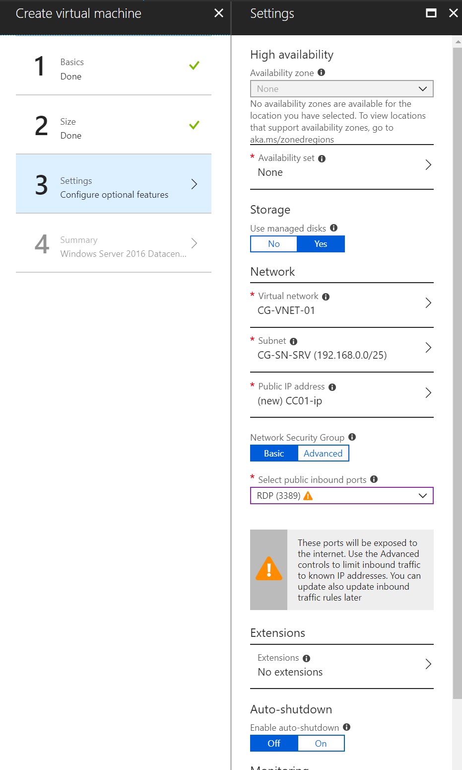Configure Azure VM option features