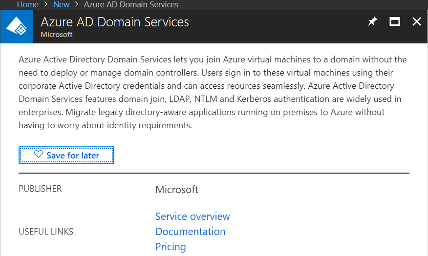 Select Azure AD Domain Services