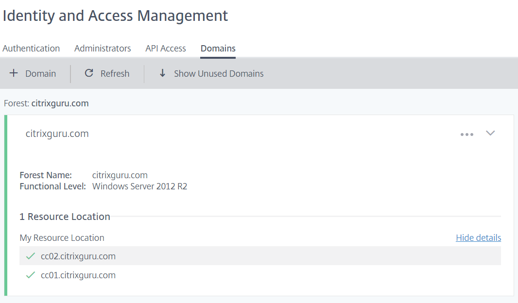 Domain supported in Citrix Cloud Identity and Access Management