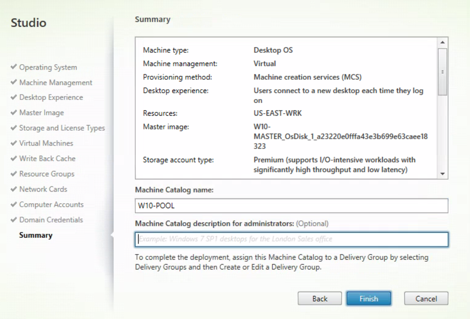 XenDesktop And XenApp Service for MCS - Create new MCS catalog 13