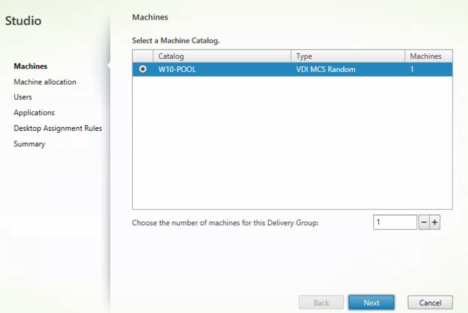 XenDesktop And XenApp Service for MCS - Create new MCS delivery group 1