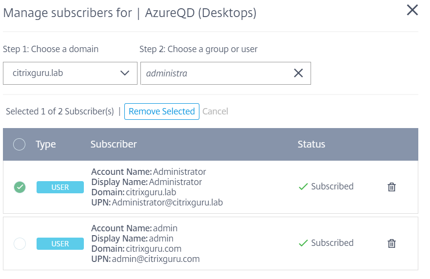 Site Aggregation Tech Preview- Manage subscribers for desktops