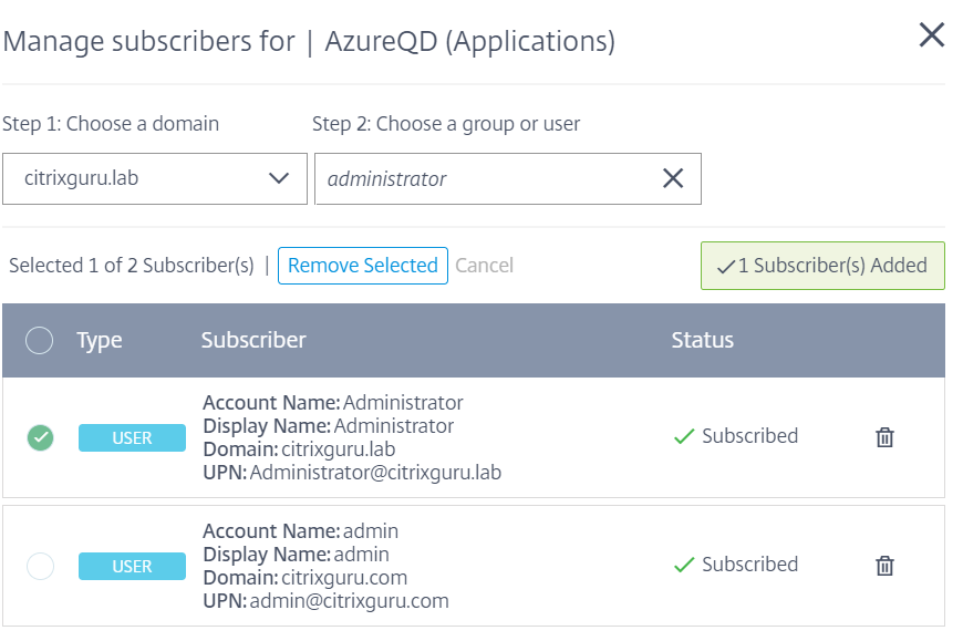 Site Aggregation Tech Preview- Manage subscribers
