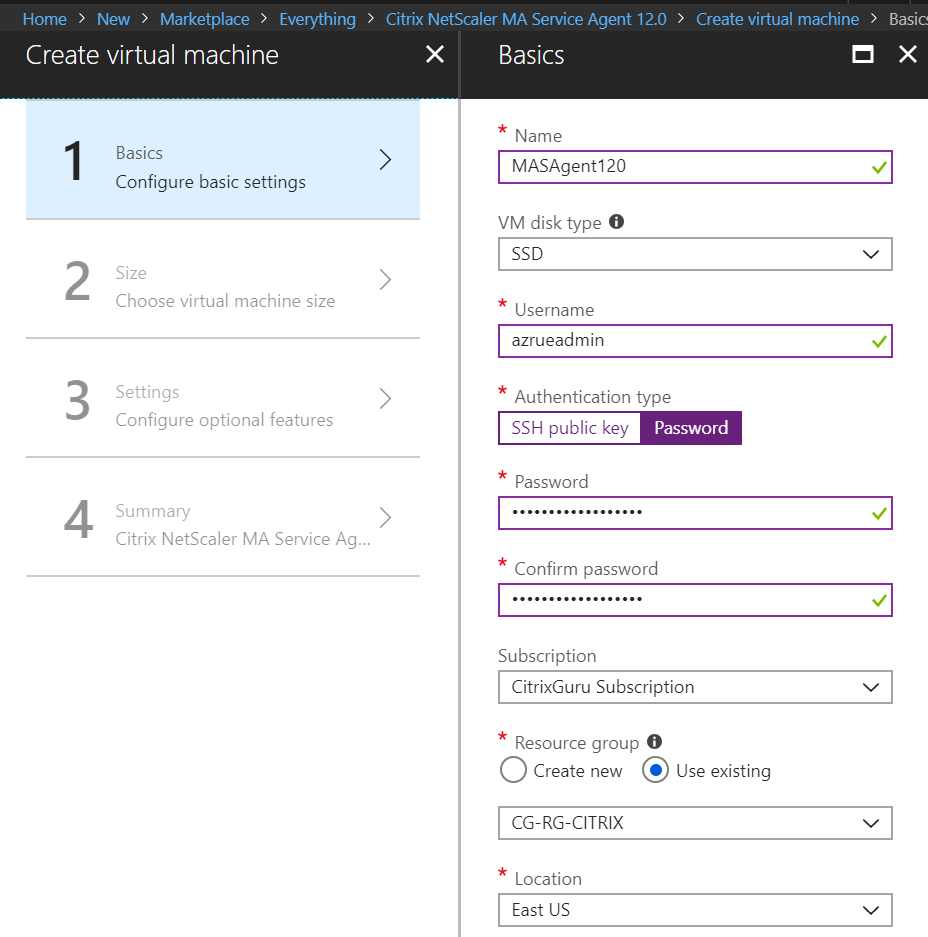 Citrix Management and Analytics Service - Create MA Agent on Azure