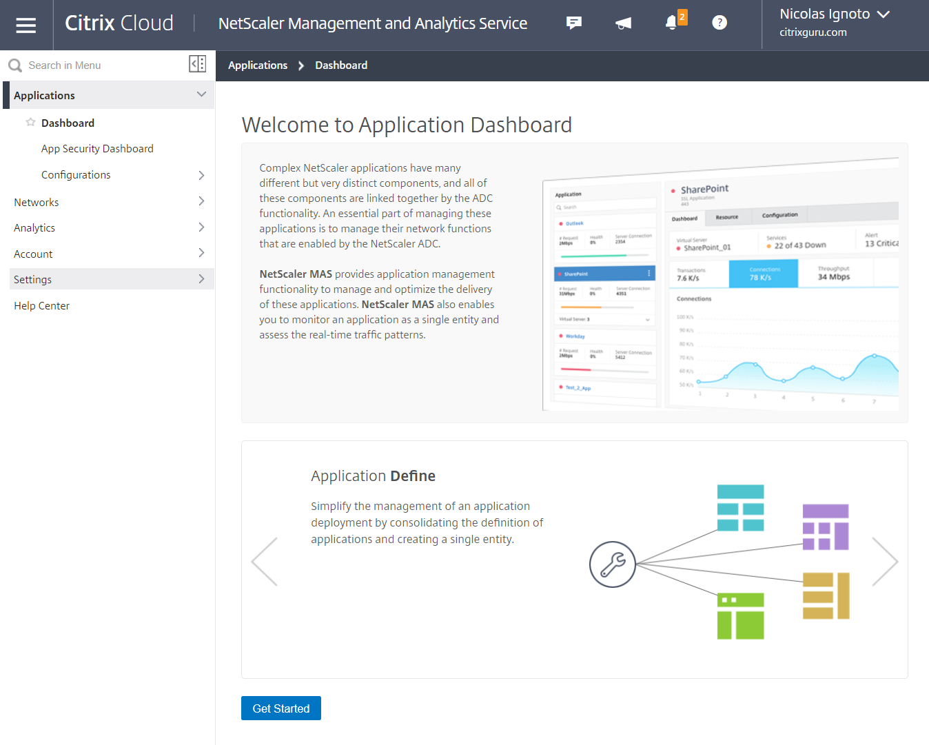 Citrix Management and Analytics Service - Dashboard