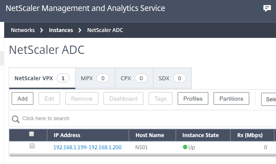 Citrix Management and Analytics Service - Netscaler instance added