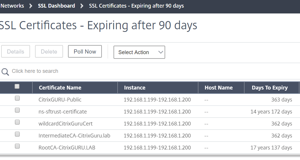 Citrix Management and Analytics Service - Netscaler certificates dashboard