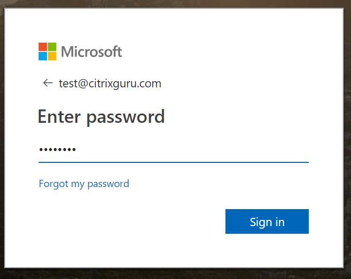 Enter Azure AD credentials