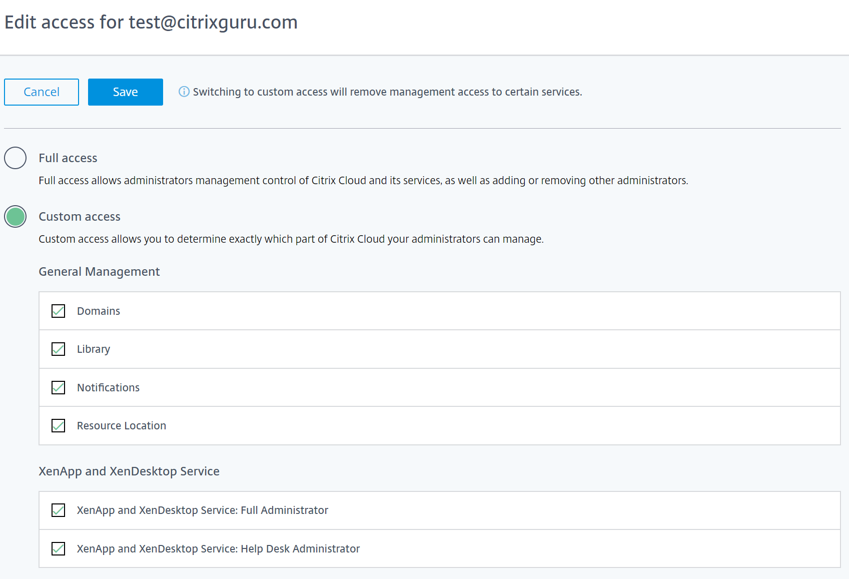 Custom permissions in Citrix Cloud
