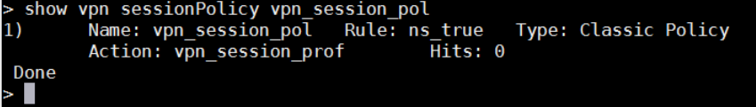 show vpn sessionpolicy vpn_session_pol