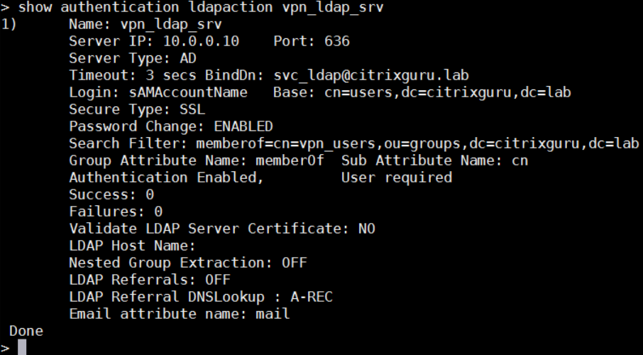 show authentication ldapaction vpn_ldap_srv