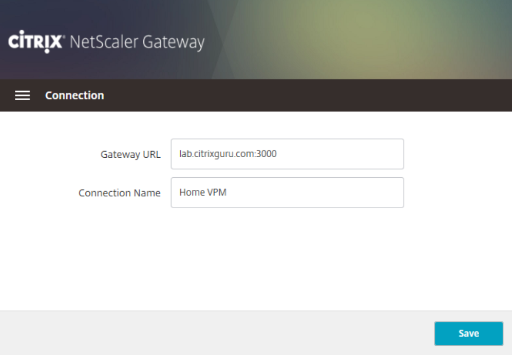 NetScaler Gateway plug-in - Add new connection