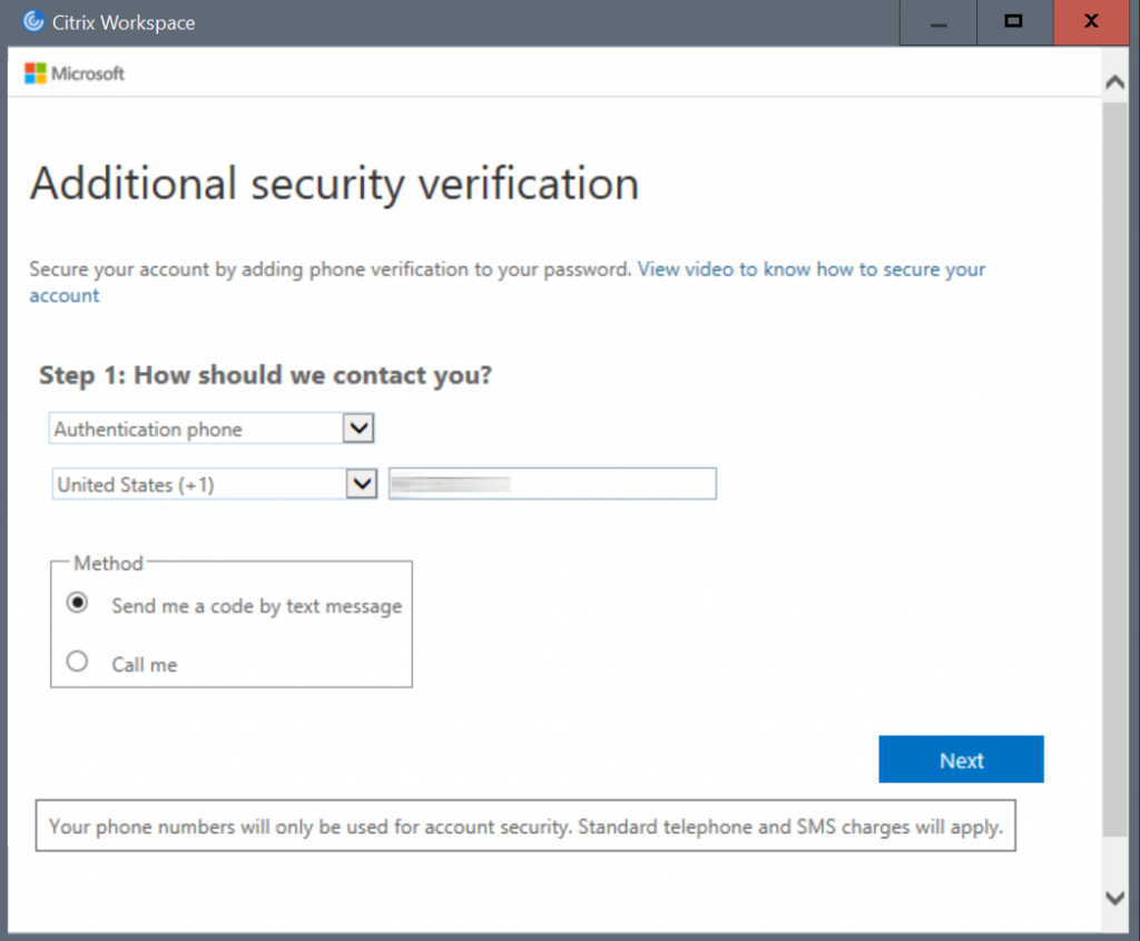 Citrix Workspace - MFA security verification