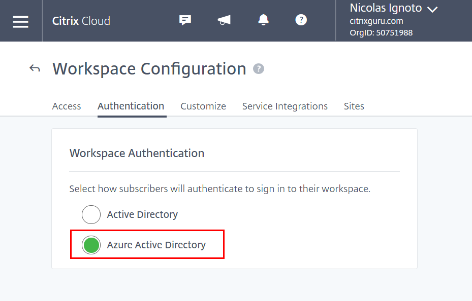 Citrix Cloud - Workspace Authentication