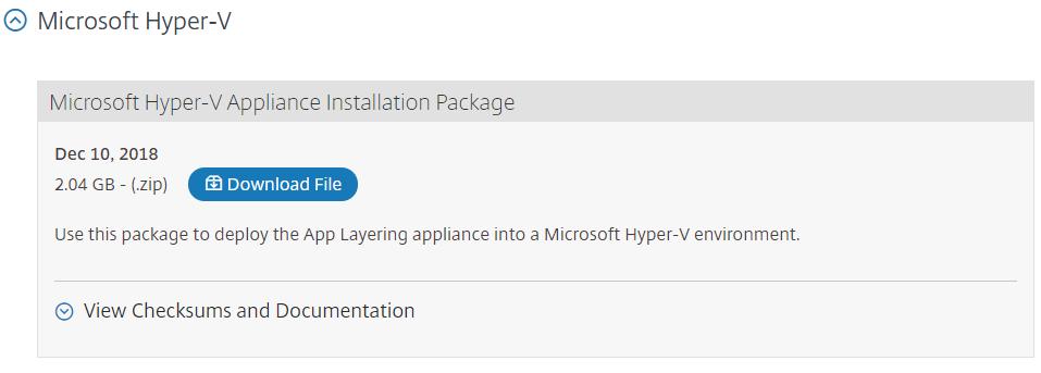 Download Citrix App Layering for Hyper-V