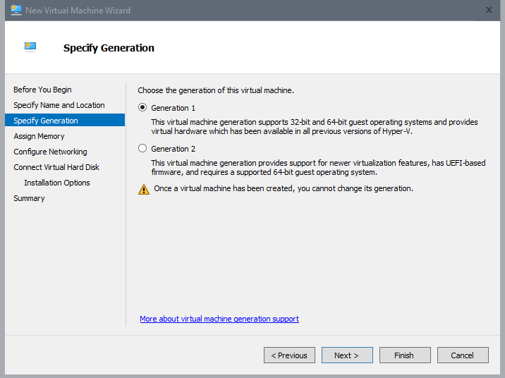 Create App Layering virtual machine with Hyper-V - Select generation